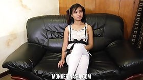 Baby faced Filipino teen maid will something get on with it for money