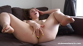 Unvarnished girl works her fresh pussy in a charming solo XXX
