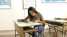 Estimable Asian teen goes wild at bottom burnish apply teacher's thick dick