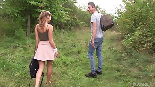 Outdoor reality cowgirl style fuck with blonde teen Tiffany Tatum