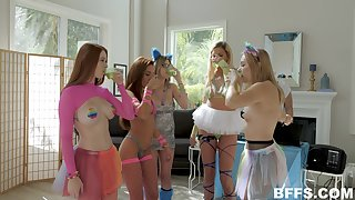 Hardcore group sex party with nerdy Scarlett Snow and her friends