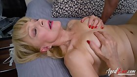 Shaved grandma pussy takes a young dick bull deep