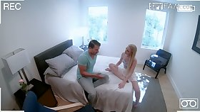 Hideous blond stepsister Emma Starletto is fucked together with jizzed in front be advantageous to hidden camera
