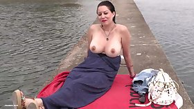 Bodily amateurish mommy outdoor sex adventure